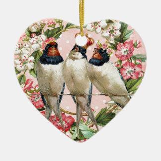 Vintage schäbige Vögel und Blumen Keramik Herz-Ornament