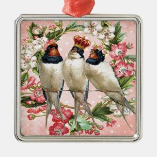 Vintage schäbige Vögel und Blumen Quadratisches Silberfarbenes Ornament