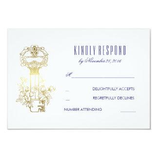 Vintage Schlüsselgold-und Marine-Hochzeit UAWG 8,9 X 12,7 Cm Einladungskarte