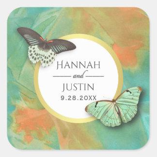 Vintage Schmetterlinge und Wedding Südwestfarben Quadratischer Aufkleber