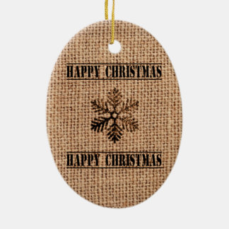 Vintage Schneeflocke-glückliches Weihnachten Ovales Keramik Ornament