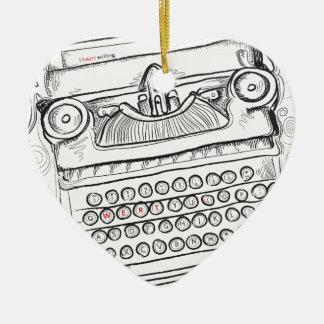 Vintage Schreibmaschine, Hand gezeichnet, Keramik Herz-Ornament