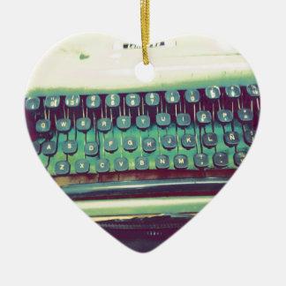 Vintage Schreibmaschine Keramik Herz-Ornament