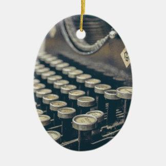 Vintage Schreibmaschine Ovales Keramik Ornament