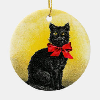 Vintage schwarze Katze Rundes Keramik Ornament