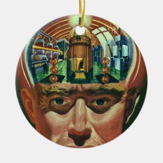 Vintage Science Fiction, alien-Gehirn im Labor Keramik Ornament