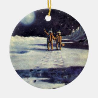 Vintage Science Fiction-Astronauten-Außerirdische Keramik Ornament
