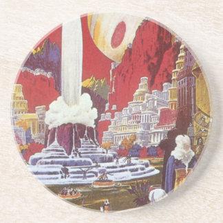 Vintage Science Fiction, die verlorene Stadt von Sandstein Untersetzer