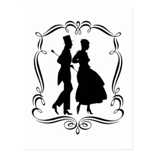 Vintage Silhouette-elegante Mann-Frauen-Postkarte Postkarte