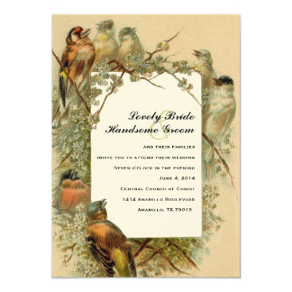 Vintage Singvogel-Foto-Rahmen-Hochzeits-Einladung 12,7 X 17,8 Cm Einladungskarte