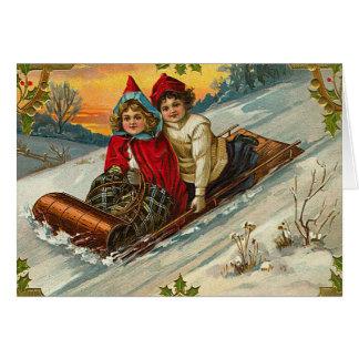 Vintage Sledding Spaß-Weihnachtskarte Karte