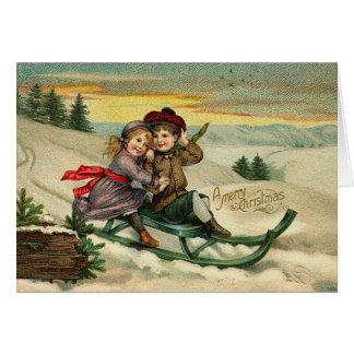 Vintage Sledding Weihnachtskarte Karte