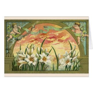Vintage Sonnenaufgang-Osterlilien und Karte