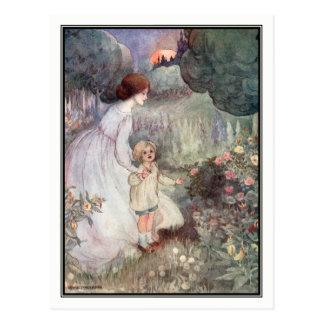 Vintage Sonnenuntergang-Mutter und Sohn durch Anne Postkarte