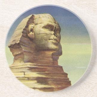 Vintage Sphinx-Flugzeug-Wüsten-Pyramiden Ägypten Getränkeuntersetzer