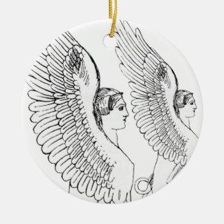 Vintage Sphinxillustration Keramik Ornament