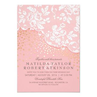Vintage Spitze-Goldconfetti-Rosa-Hochzeit 12,7 X 17,8 Cm Einladungskarte