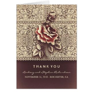 Vintage Spitze-Hochzeit danken Ihnen Karten