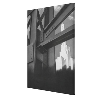 Vintage Stahlbau-Wolkenkratzer-Architektur Leinwanddruck