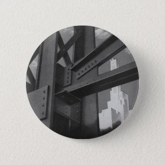 Vintage Stahlbau-Wolkenkratzer-Architektur Runder Button 5,7 Cm