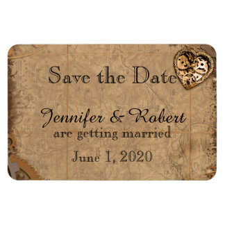 Vintage Steampunk Braut, die Save the Date Wedding Eckiger Magnet