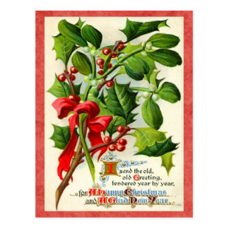 Vintage Stechpalmen-Feiertags-Postkarte Postkarte