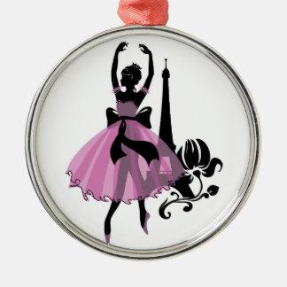 Vintage stilvolle Illustration der Mode. Ballerina Silbernes Ornament