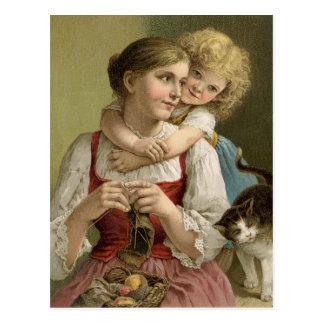 Vintage strickende Mutter Postkarte