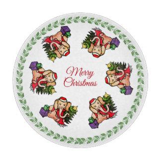 Vintage süße frohe Weihnacht-Elefanten Sankt Schneidebrett