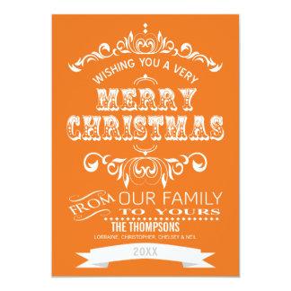 Vintage Tafel-Weihnachtsgruß-Karte - Orange 12,7 X 17,8 Cm Einladungskarte