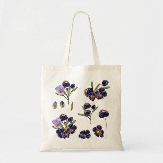 Vintage Taschentasche mit Hand-gezeichneten Blumen Budget Stoffbeutel