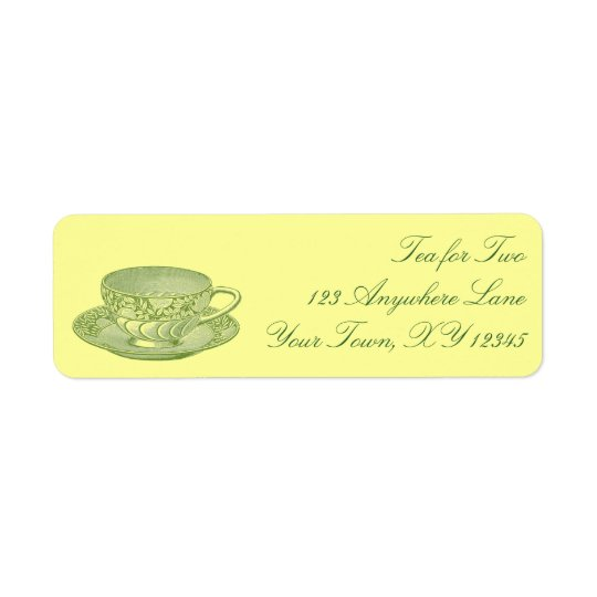 Vintage Tee-Schale Rückversand-Adressaufkleber