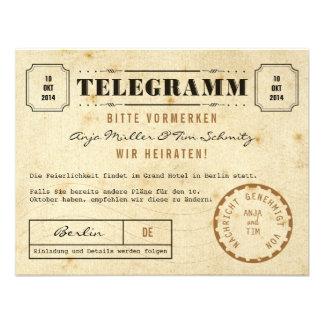 Vintage Telegramm Save the Date Einladungskarten