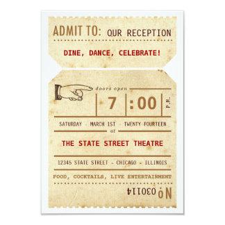 Vintage Theater-Karten-Empfangs-Einsatz-Karte 8,9 X 12,7 Cm Einladungskarte