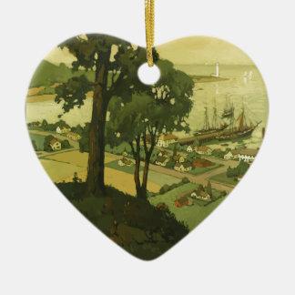 Vintage-Travel-Poster-New-England-USA-2 Keramik Ornament