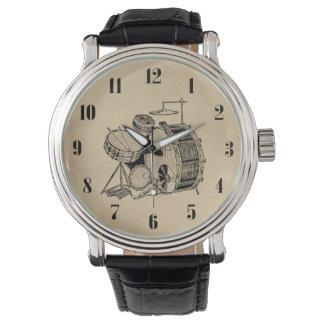 Vintage Trommel-Ausrüstungs-Trommeln Armbanduhr
