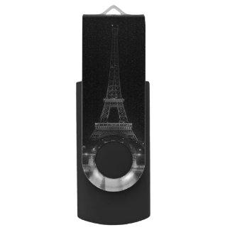 Vintage Turm-Eiffel-Nacht Paris Fontains USB Stick