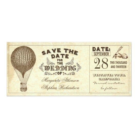 Vintage Typografie des Heißluftballons Save the 10,2 X 23,5 Cm Einladungskarte