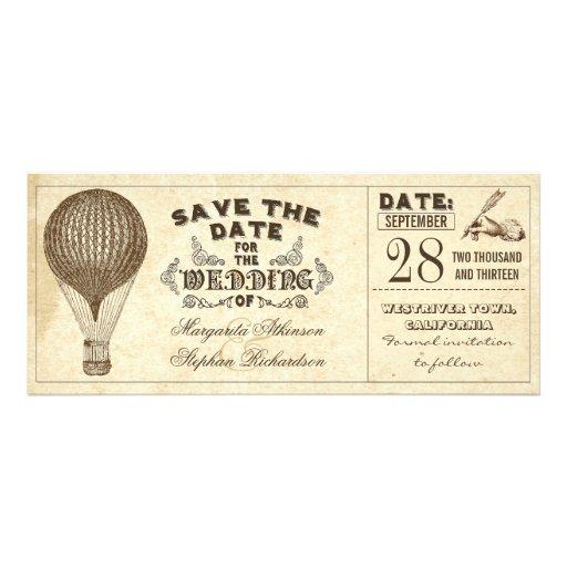 Vintage Typografie des Heißluftballons Save the Ankündigungskarten