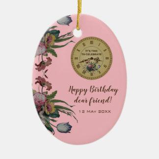 Vintage Uhr mit Blumen-Geburtstags-Party Keramik Ornament