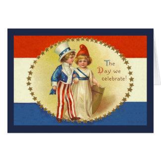 Vintage Unabhängigkeitstag-Gruß-Karte Grußkarte