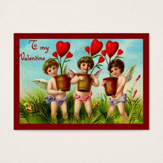 Vintage Valentine-Amoren, die rote Herz-Pflanzen Visitenkarte