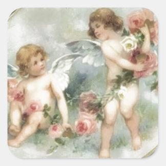 Vintage Valentine-Engel Quadrat-Aufkleber
