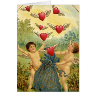 Vintage Valentine-Engel und Herzen Grußkarte
