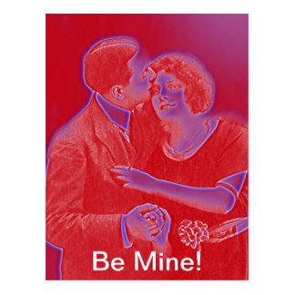 Vintage Valentine-Paare im Rot Postkarte