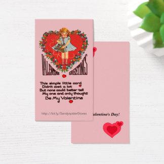 Vintage Valentines-Herz-Wreath u. Mädchen Vert Visitenkarte