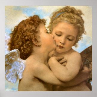 Vintage viktorianische Engel, erster Kuss durch Poster