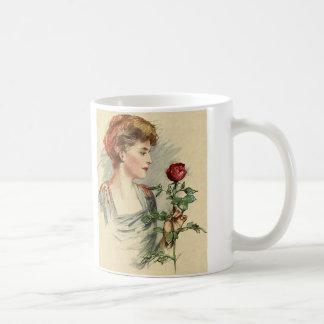 Vintage viktorianische Frauen-Rosen-Blume mit Kaffeetasse