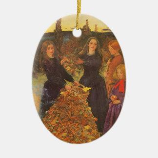 Vintage viktorianische Kunst, Herbst-Blätter durch Keramik Ornament
