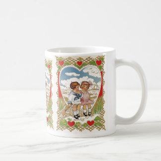 Vintage viktorianische Valentinstag-Kinder im Kaffeetasse